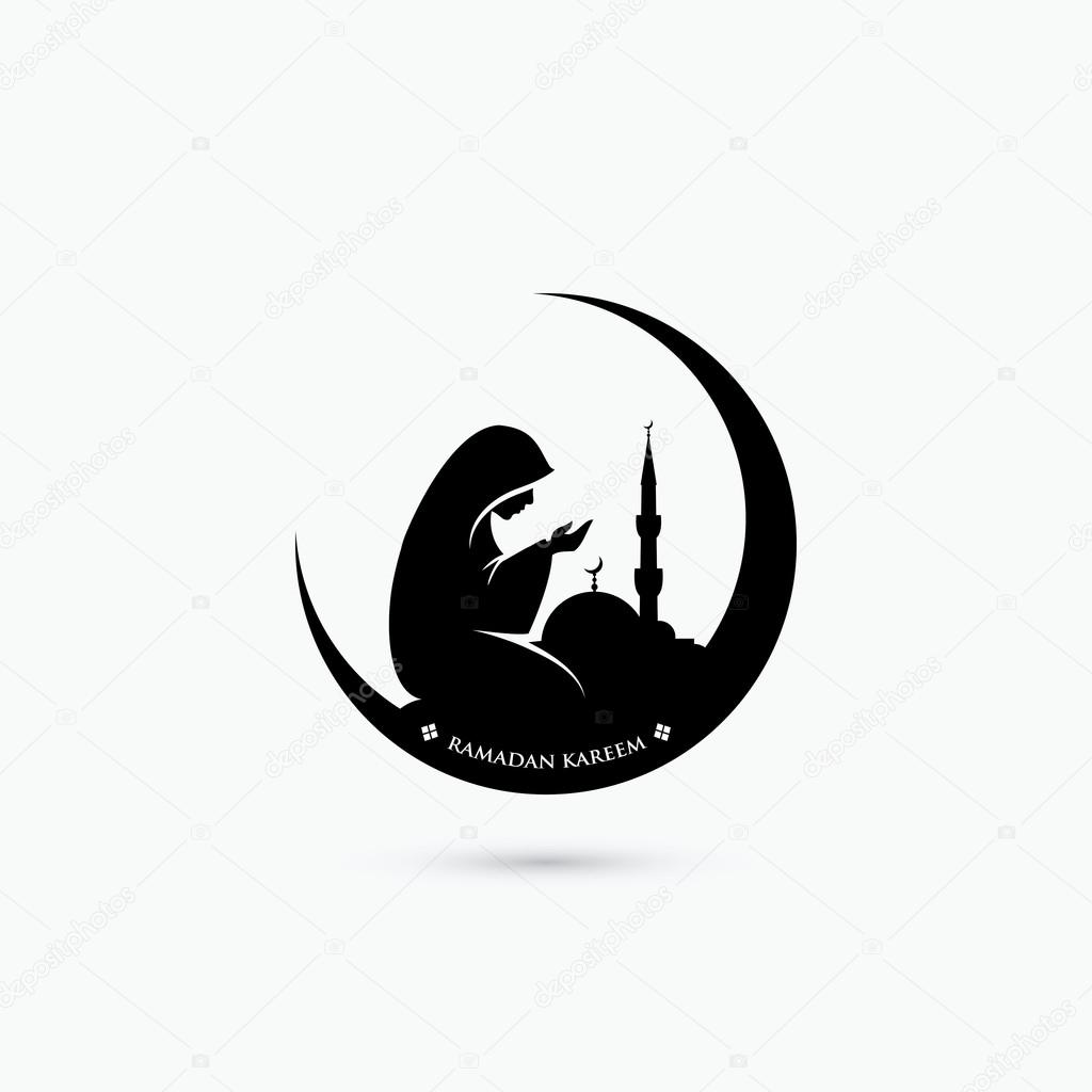 Muslim woman praying symbol
