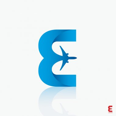 Airline logo design with capital letter E - vector illustration stock vector