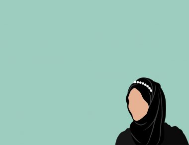 Muslim woman on blue