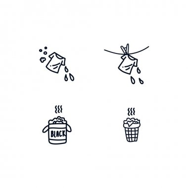 A collection of hand-drawn icons for the Laundry service. The set includes Icons: drying clean clothes and dirty Laundry in the basket, suitable for Laundry service. Hand-drawn icons in a line on a icon