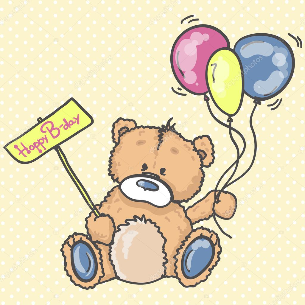 Cute Teddy bear with the colorful balloons. Background with bear and ...