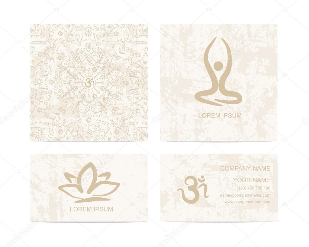 Yoga Oder Meditation Studio Visitenkarte Stockvektor