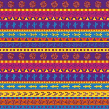 Vector seamless mexican pattern in bright color scheme stock vector