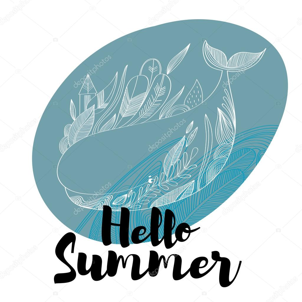 Etonnant Hello Summer  Awesome Hand Drawn Whale In Vector. Lovely Card In Stylish  Colors With Lettering  Stock Vector U2014 Vector By Ovocheva