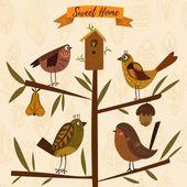 Krásná podzimní koncepce, která byla vyrobena z listových a ptačích ptáků. Fl