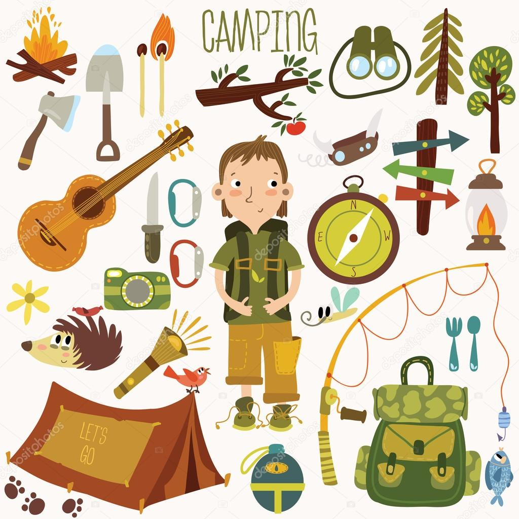 Bright Camping Equipment Icon Set In Vector By Ovocheva
