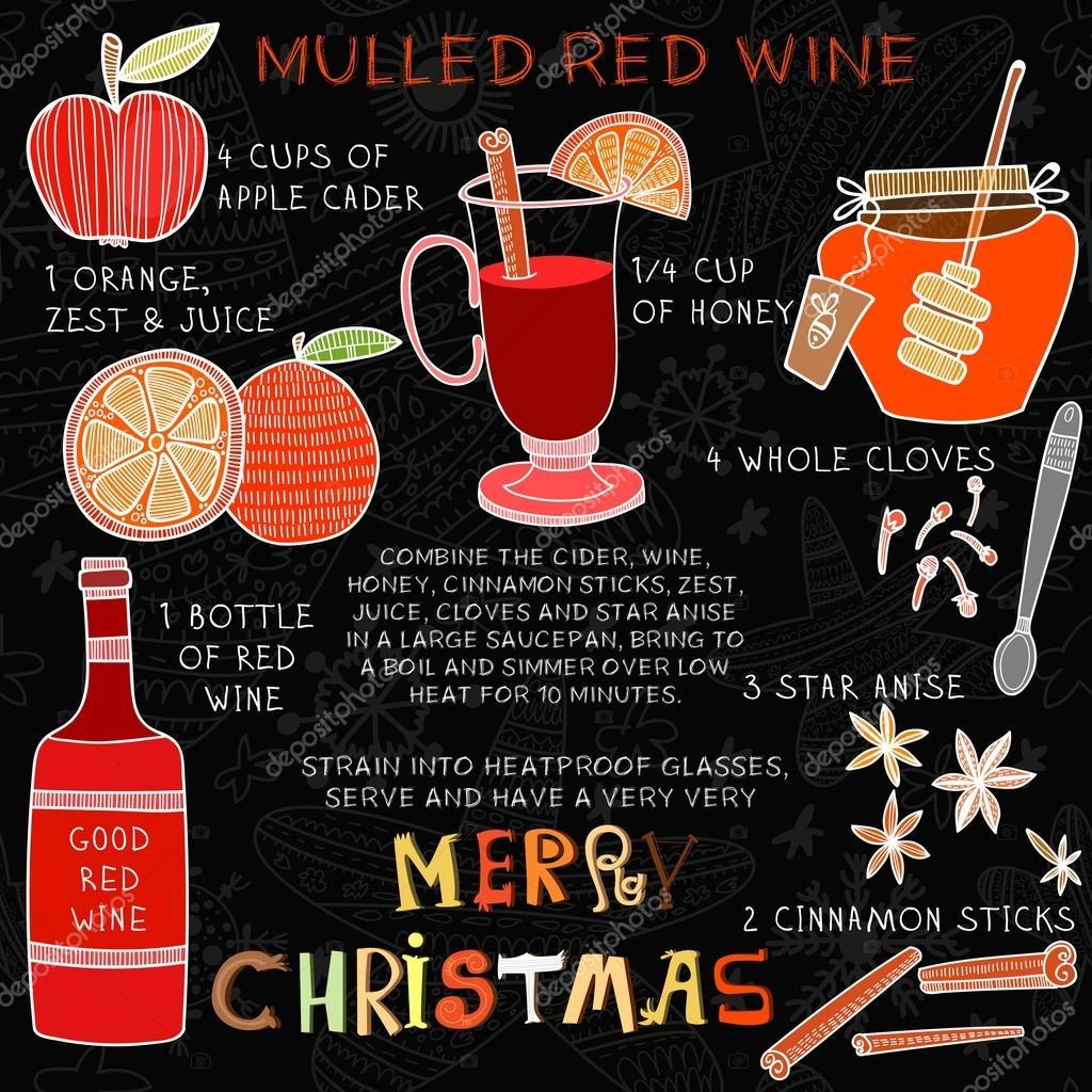 Boże Narodzenie przepis na wino pić — Grafika wrowa © ovocheva on
