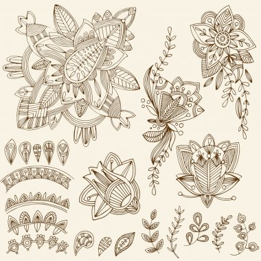 Mehndi Tattoo Doodles Set 2- Abstract Floral Illustration Design