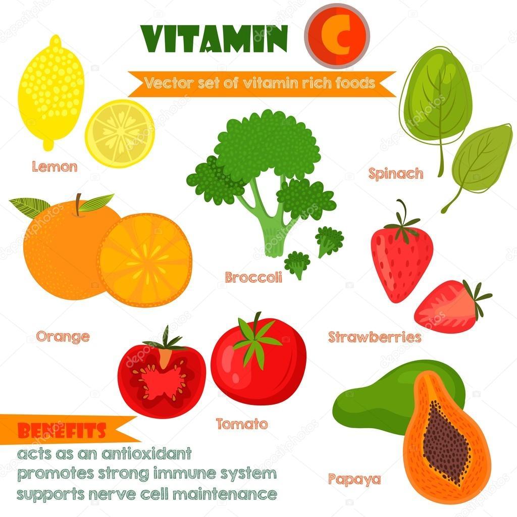 Vitamins and Minerals foods Illustrator set 1.Vector set of vita