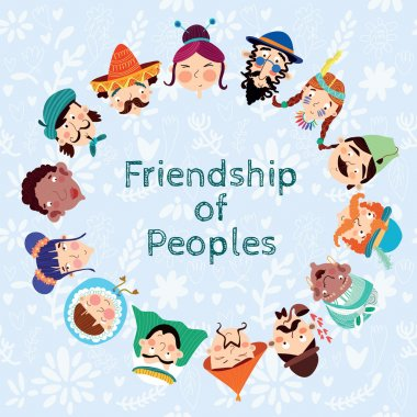 Friendship of Peoples - Friendly card with many nationalities clip art vector