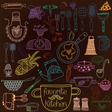 colorful set of kitchen tools.