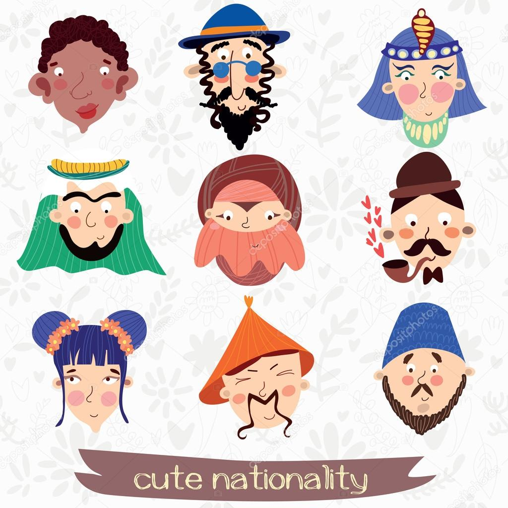 Nine nationalities characteristic faces