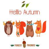 Scheda di autunno con gli animali svegli