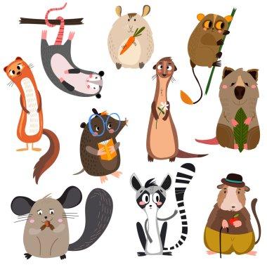 mammals in cartoon style