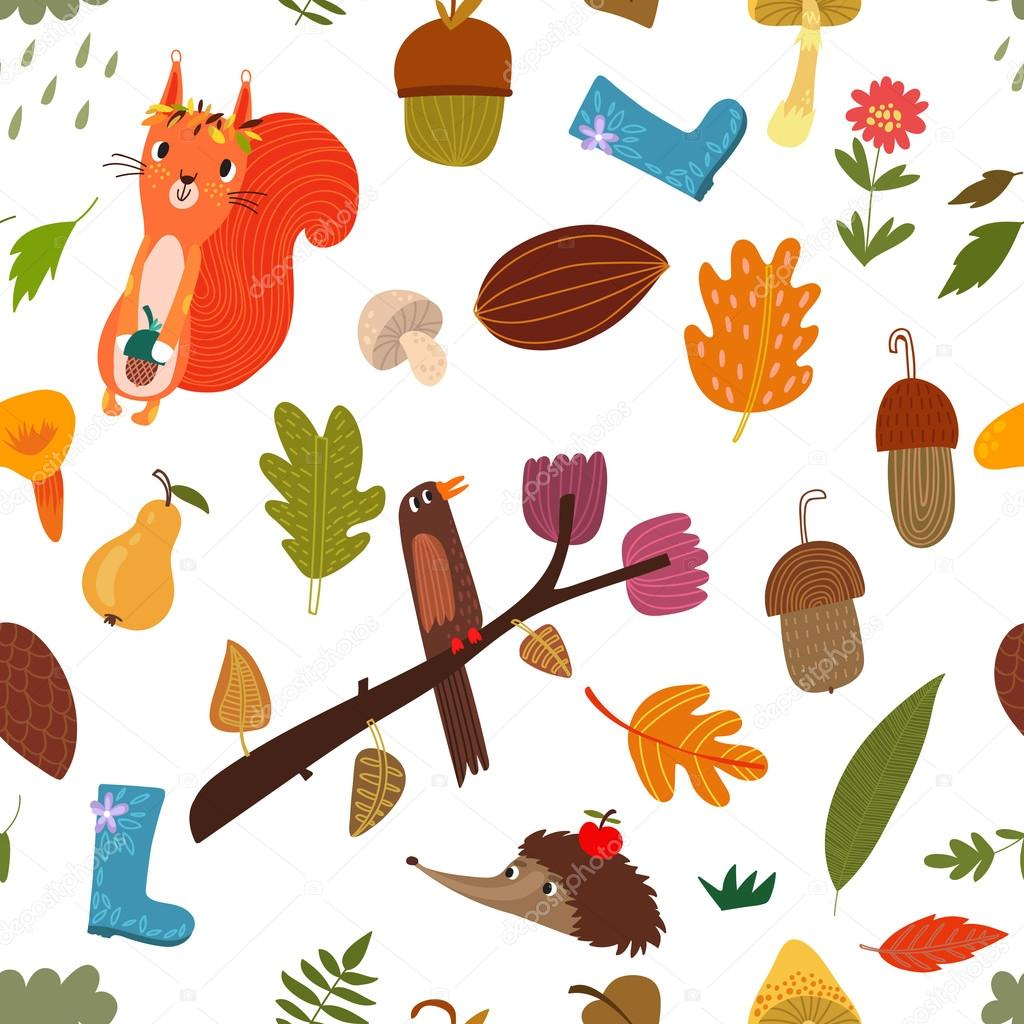 pattern with cartoon Forest Animals