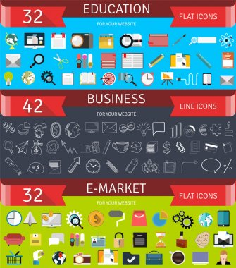 Set of flat business concept and icons.