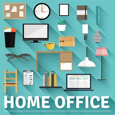 Set of flat home office concepts.