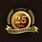 25-jähriges Jubiläum, goldener Lorbeerkranz mit goldener Schleife