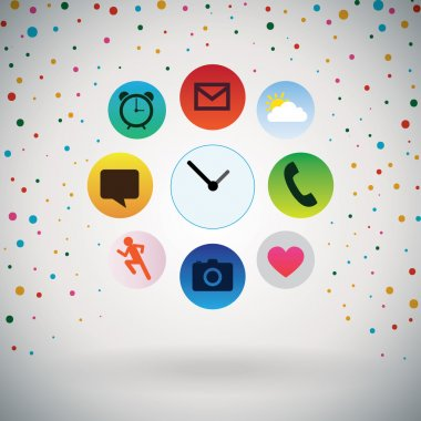 Apps icons with Retro polka dots Background.