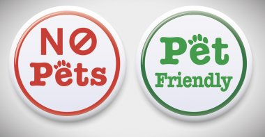 No Pets Allowed and Pet Friendly Button Badge.