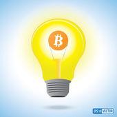 Fotografie Bitcoin-Währungssymbol in einer Glühbirne