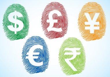 Currency symbols thumbprint