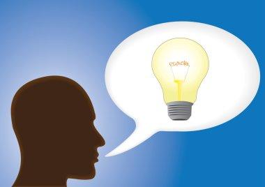 Speech bubble a light bulb, idea