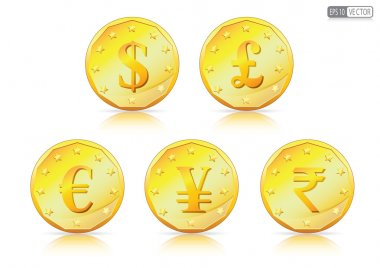 Currency symbols on Gold Coin.