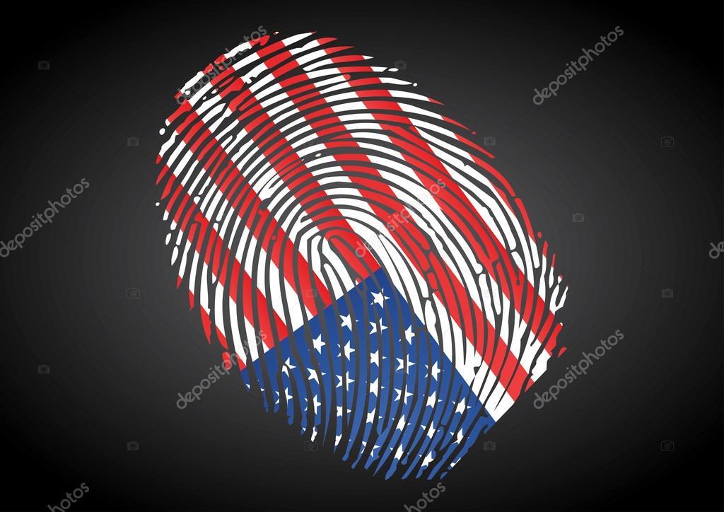 USA Flag On Fingerprint Stamp Stock Vector