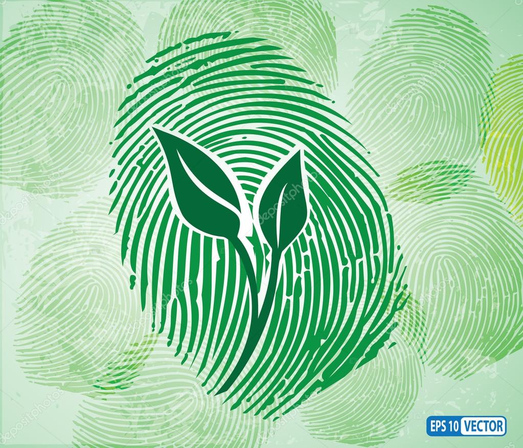 Ecology concept icon green leaves