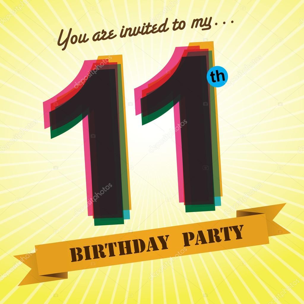 11th Birthday Party Invite Stock Illustration