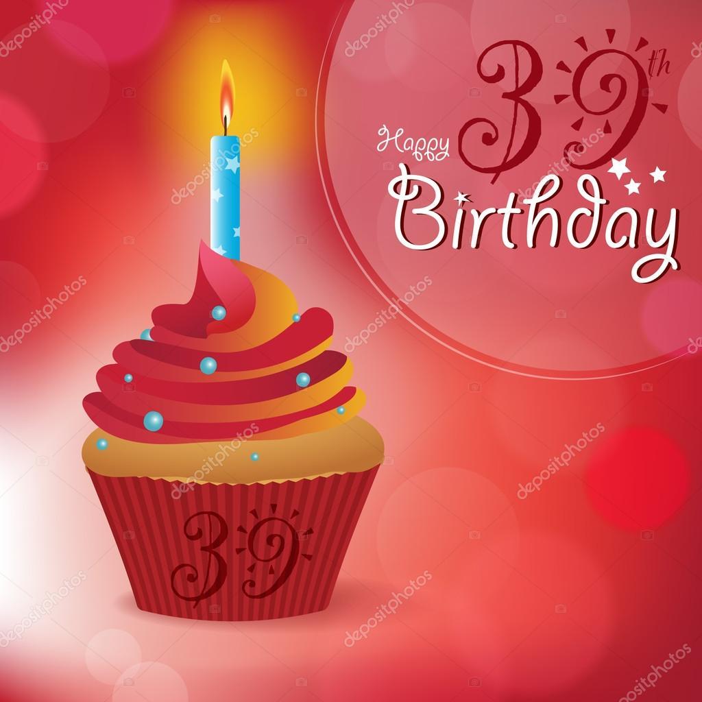 Felices 39 felicitación de cumpleaños — Archivo Imágenes ...