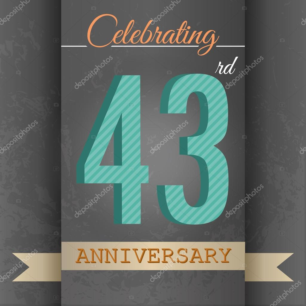 43rd Anniversary Poster Template Design Stock Vector