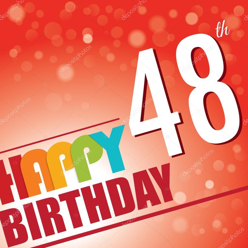 48e Verjaardag Partij Uit Te Nodigen Stockvector C Harshmunjal