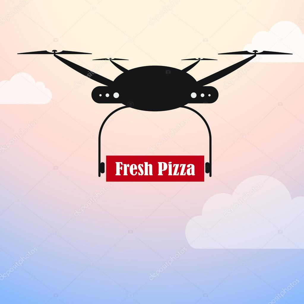 Drone Delivery Delivering Fresh Pizza Vector By Harshmunjal