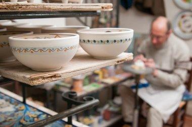 Painted ceramic teacups