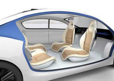 Autonomous car's interior concept. The car offer folding steering wheel, rotatable passenger seat.