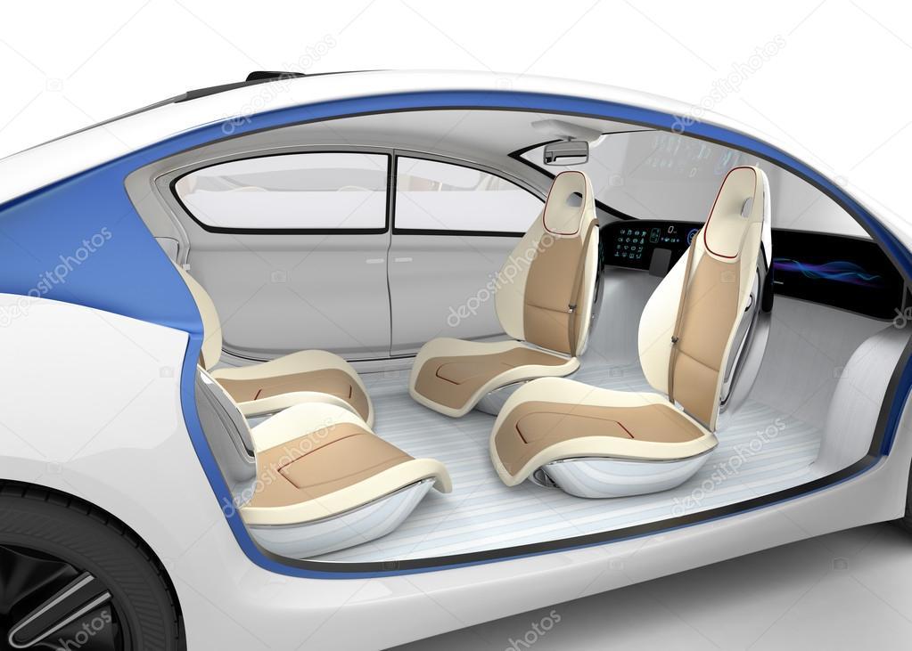 autonomes auto innenraum konzept das auto angebot das lenkrad drehbarer beifahrersitz. Black Bedroom Furniture Sets. Home Design Ideas
