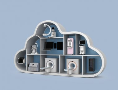 Medical imaging system and PACS server, 3D printer in cloud shape container