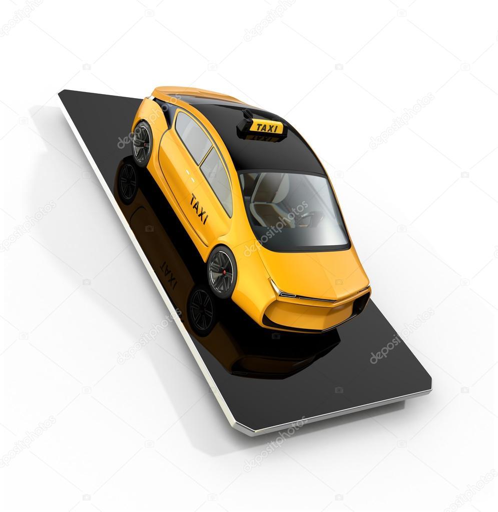 Gele Elektrische Taxi Op Slimme Telefoon Concept Voor Mobiele