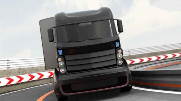 3DCG animation of autonomous hybrid truck driving on highway