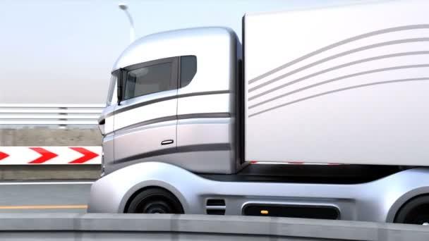3dcg animace hybridní nákladních aut na dálnici