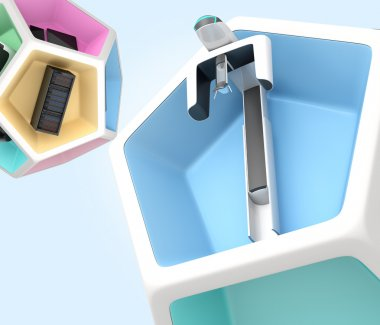 Dental equipment in pentagon cube. Concept for digital dentistry.