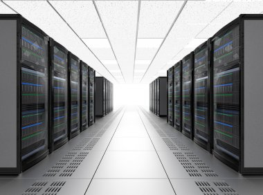 Rows of blade server system in data center