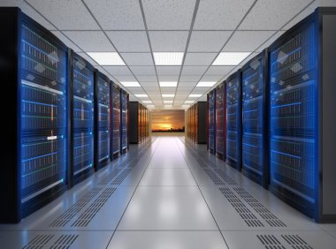 Modern server room interior. 3D rendering image.