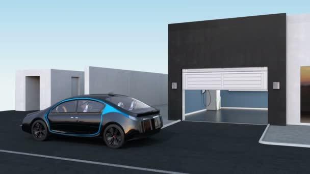 Autonome Parkeerplaats Naar Garage Door Automatische Parking Assist