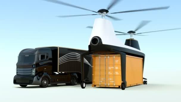 Animáció a rakomány drone felszállás mellett egy hibrid teherautó a szállítási rakomány konténer