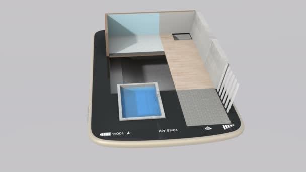 3dcg animace inteligentního domu částí instalace do chytrý telefon