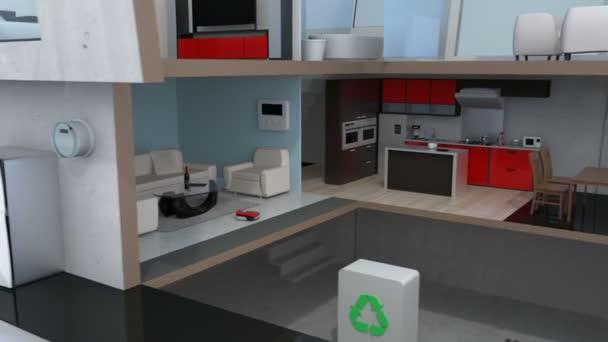 3dcg animace inteligentního domu na smartphonu