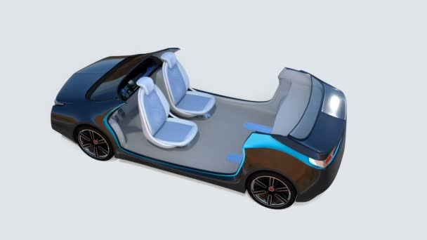 3D animation of autonomous car interior. Rotatable backrest equip with LCD monitor